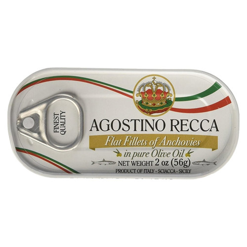 Agostino Recca Flat Fillets of Anchovies in Olive Oil - 2oz (Pack of 25)