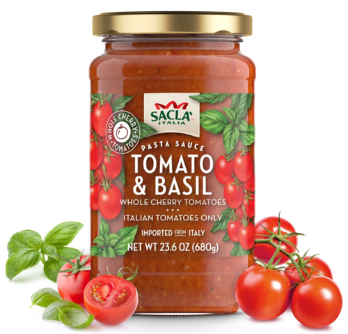 Sacla Italia Whole Cherry Tomatoes & Basil Pasta Sauce - 23.6oz