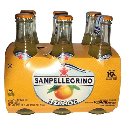 Sanpellegrino Orange Sparkling Fruit Beverage, 6.75 fl oz. 19% Orange Juice Glass Bottles (6 Count)