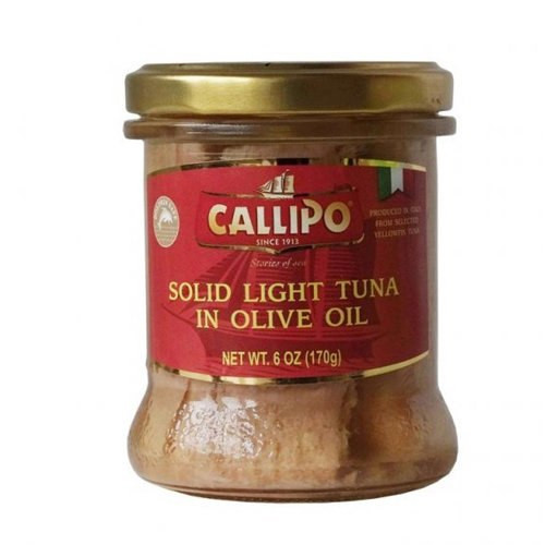 Callipo Solid Light Tuna in Olive Oil in a glass Jar - 6oz (Pack of 12)