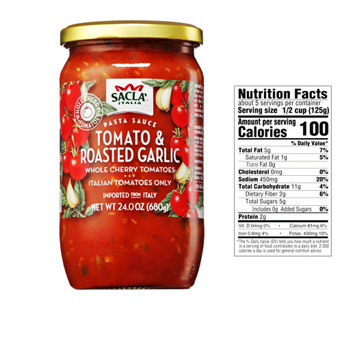 Sacla Italia Whole Cherry Tomato and Roasted Garlic Sauce - 24oz