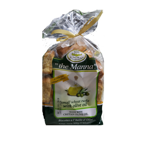 "Bakery Tsatsaronakis ""the Manna"" Small Wheat Rusks with Olive Oil Imported From Greece - 17.63oz"