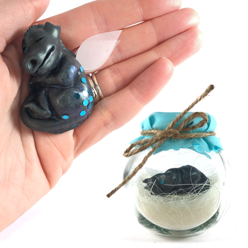 Baby Dragon Jar black and turquoise