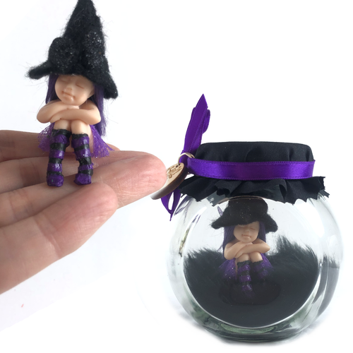 Halloween Sitting small Fairy Jar with witch hat Purple