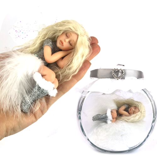 Christmas Edition Fairy white feather Large *optional display jar