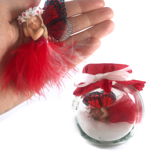 Christmas Starter Fairy red feather dress with white garland