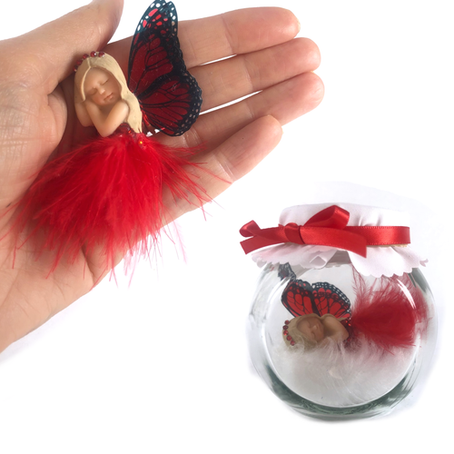 Christmas Starter Fairy red feather dress with crystal tiara