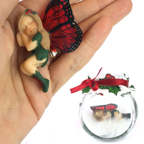 HOLLY Fairy Charm Jar Choice of hair colours & collectors bead