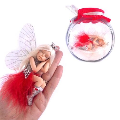 Silver Sparkle In Large Fairy Jar optional Jar RED