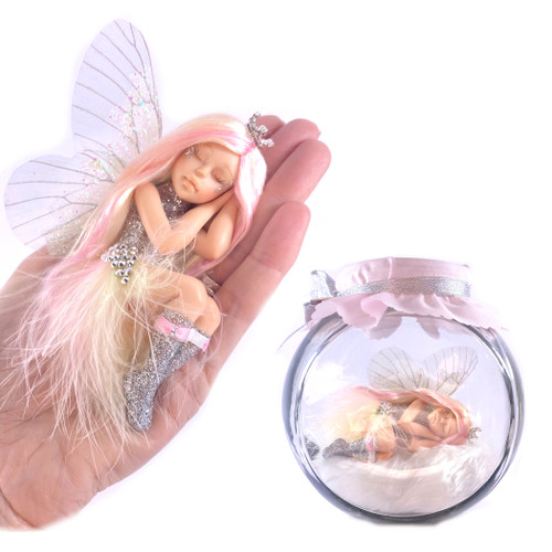 Silver Sparkle In Large Fairy Jar optional Jar PINK & YELLOW