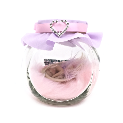 Pink and Lilac Fairy Jar Medium  with feather dress