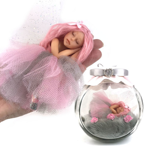 Pink and Grey Fairy optional Jar Large
