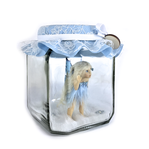 Pretty in Blue willow Fairy Jar