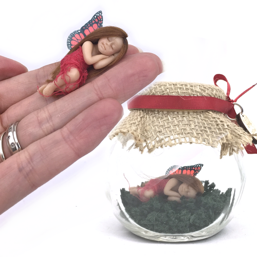 Red Enchanted Garden small Fairy Jar *optional tooth fairy bottle