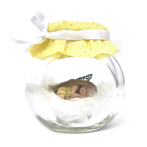 Small  yellow sparkle Fairy Jar *optional tooth fairy bottle
