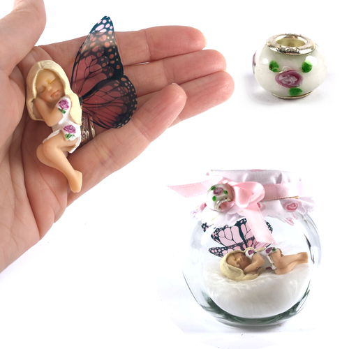 ROSE Fairy Charm Jar Choice of hair colours & collectors charm