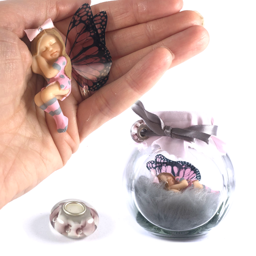 JANE Fairy Charm Jar Choice of hair colours & collectors bead