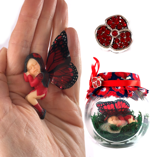 POPPY Fairy Charm Jar Choice of hair colours & collectors bead