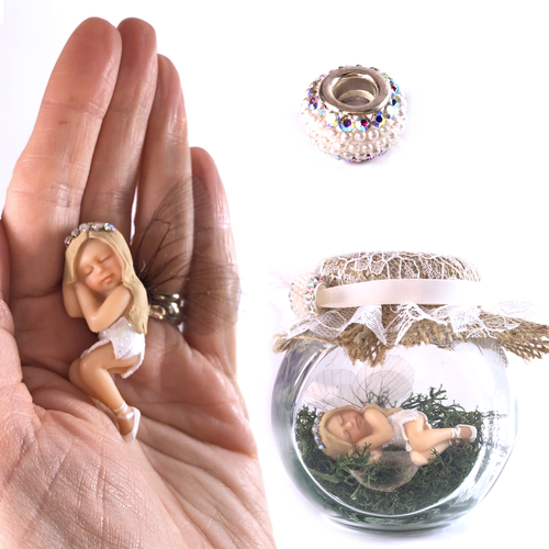 LUCY Ballerina Fairy Charm Jar Choice of hair colours & collectors bead