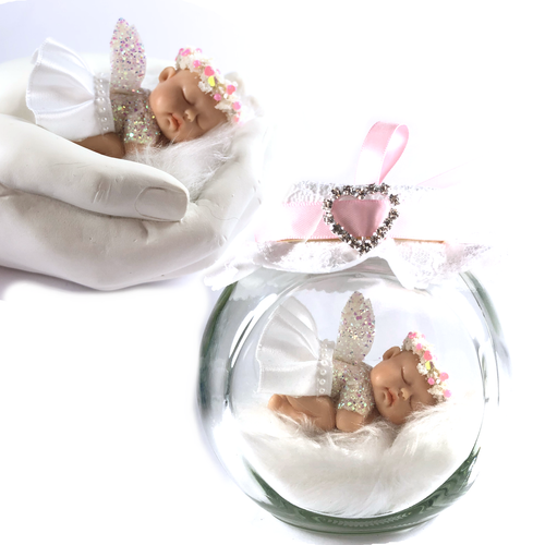 Christening Baby Fairy white and pink