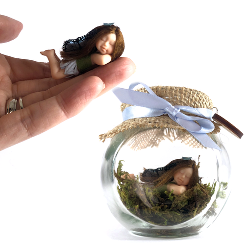 Small Fairy Jar Laying down Enchanted Garden Blue