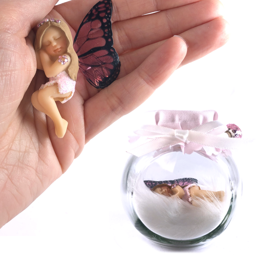 Limited Edition Fairy Charm Jar Pink Diamante