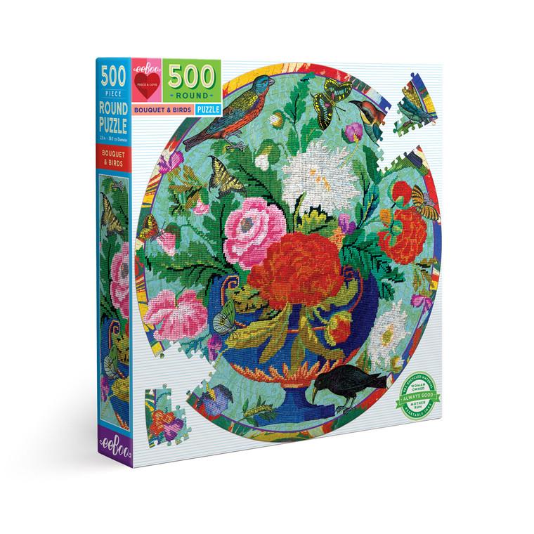 Bouquet & Birds 500 Piece Round Puzzle