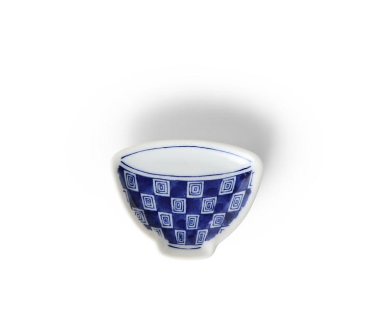 "Mini Plate 3.75"" Blue & White Teacup Check"