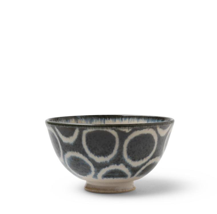 Rustic White Circles Rice Bowl