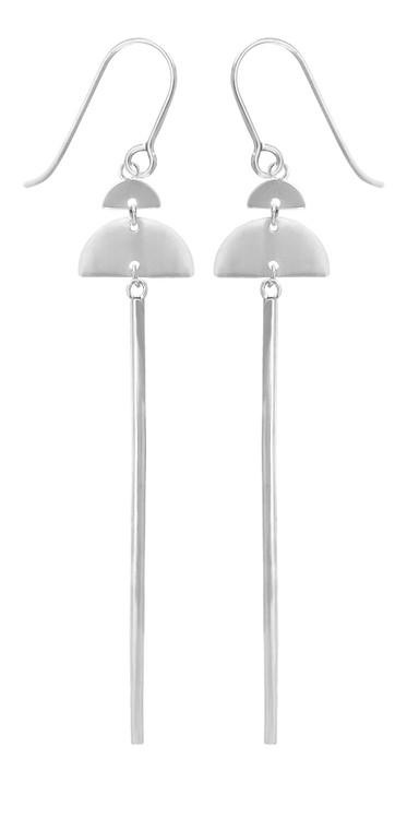 Sterling Silver Half Moon w/ Bar Earrings