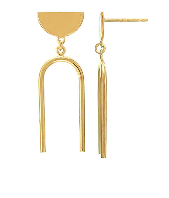 14K GV Half Circle Arc Earrings