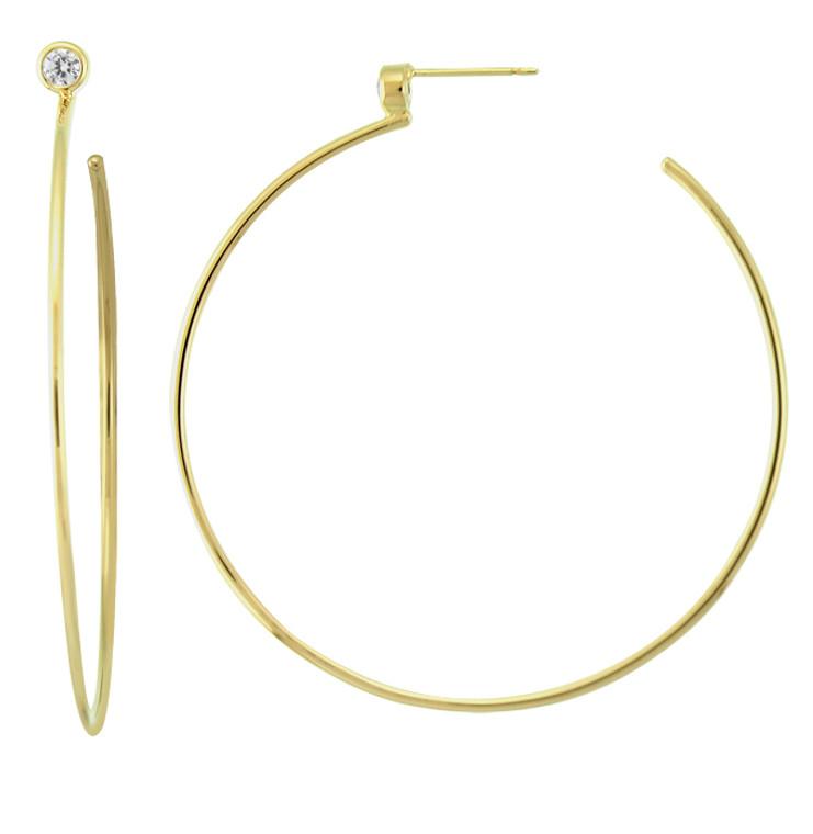 14K GV CZ Post Hoop Earrings