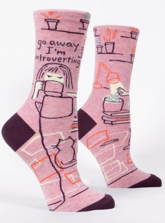 Go Away I'm Introverting Crew Socks