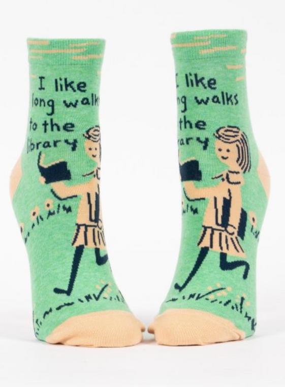 I Like Long Walks To The Library Ankle Socks