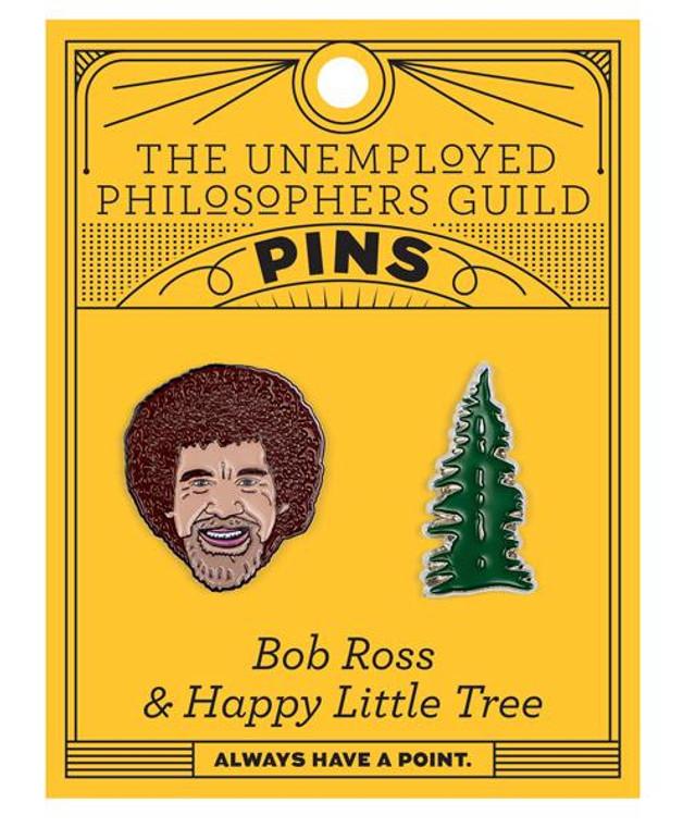 Bob Ross & Happy Little Tree Pins