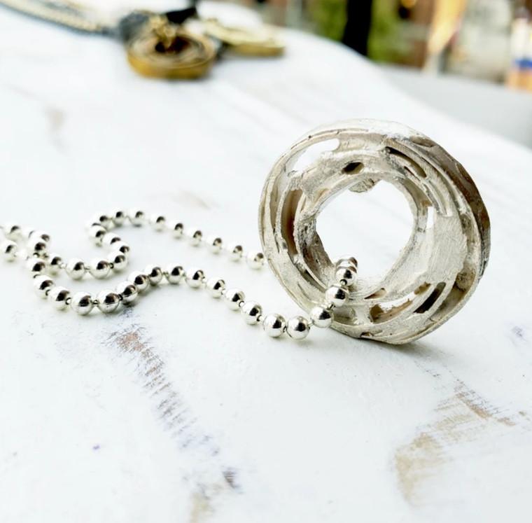 Zeit Necklace- Sterling Silver or Sterling Black