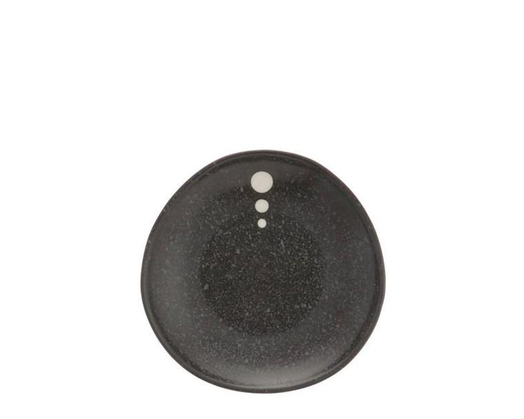 "Satin Black White Dots Plate 5-1/4"""