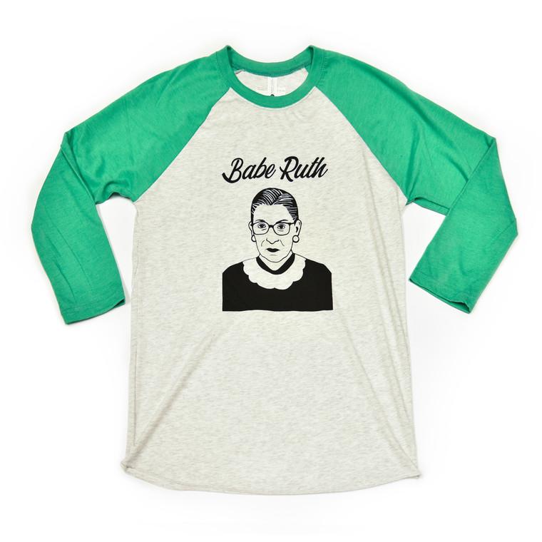 Ruth Bader Ginsburg Baseball Tee-Shirt, Green