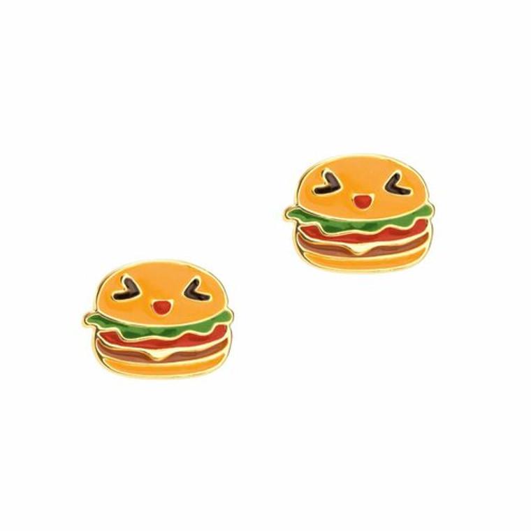 Happy Hamburger Enamel Studs