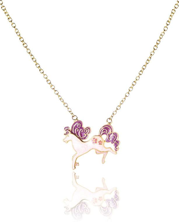 Purple Pony Enamel Necklace
