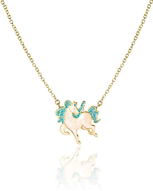 Blue Pony Enamel Necklace