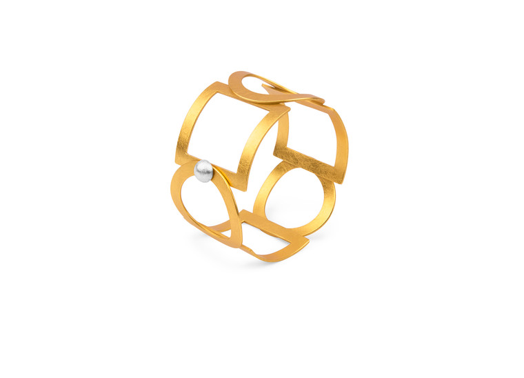 14K Gold Plated Sterling Silver Open Circle & Square Bracelet