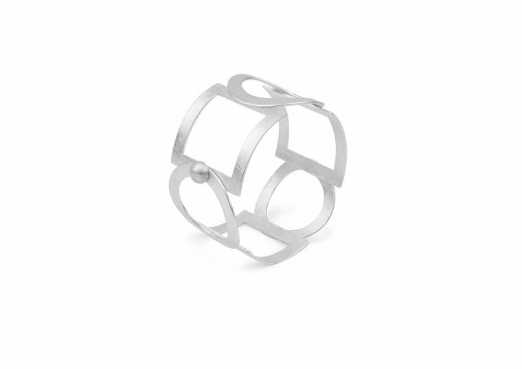 Sterling Silver Open Circles & Squares Bracelet