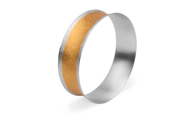 14K Gold Plated Sterling Silver Edge & Center Bracelet