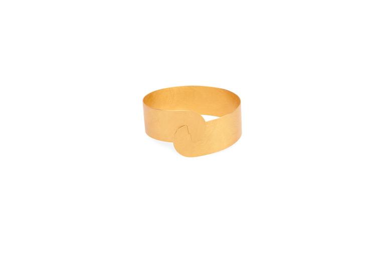 14K Gold Plated Sterling Silver Half Moon Clasp Bracelet 20mm