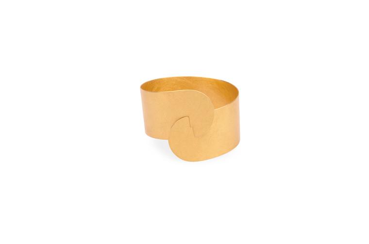 14K Gold Plated Sterling Silver Large Half Moon Clasp Bracelet