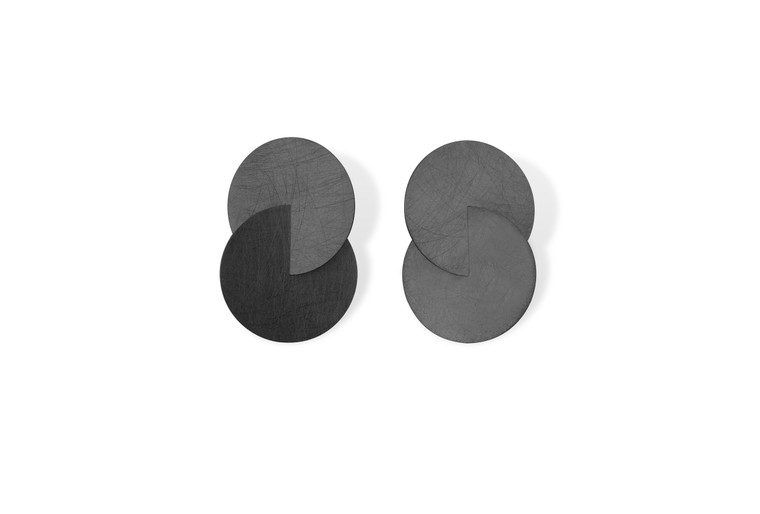 Ruthenium Plated Sterling Silver Large Double Circle Linked Post Earrings