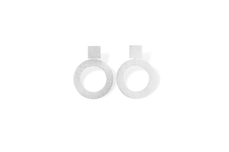 Sterling Silver Square Post Hoop Earrings