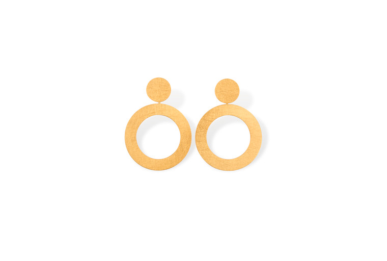 14k Gold Plated Sterling Silver Circle Post Hoop Earrings