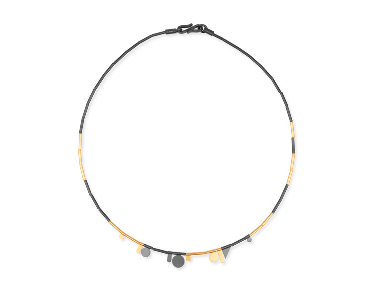 14K Gold & Ruthenium Plated Sterling Silver Small Geometric Shapes Necklace